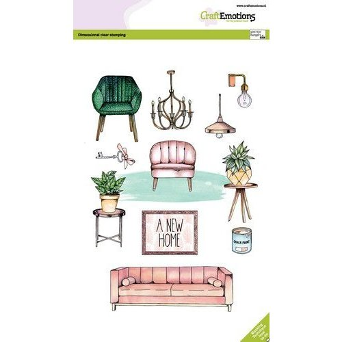 CraftEmotions clearstamps A5 - A new home GB Dimensional stamp