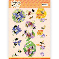 CD11673 - 10 stuks 3D Knipvel -  Jeanines Art - Humming Bees - Honey
