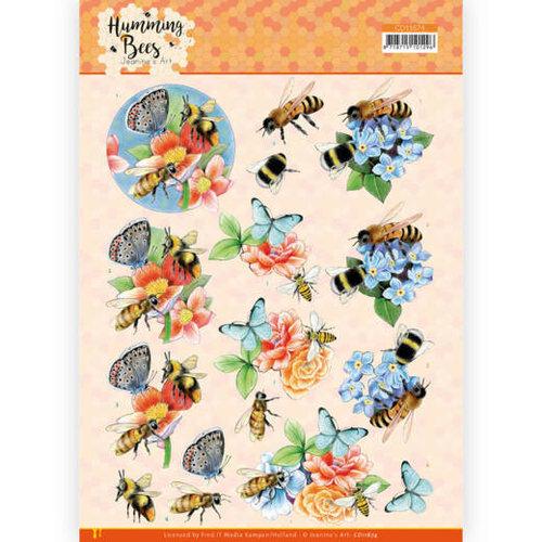 CD11674 - 10 stuks 3D Knipvel -  Jeanines Art - Humming Bees -Bees and Bumblebee