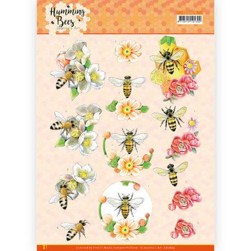 CD11675 - 10 stuks 3D Knipvel -  Jeanines Art - Humming Bees - Bee Queen