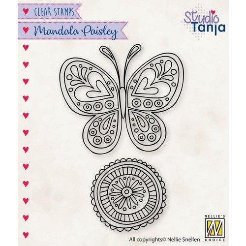 CSMAN011 - Nellies Choice Clearstamp Mandala - Paisley vlinder CSMAN011 53x47mm