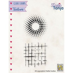 TXCS024 - Nellies Choice Clearstamp - Texture - Stippen en vierkanten TXCS024 38x78mm