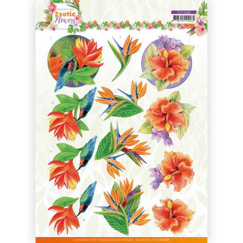 Jeanines Art CD11688 - 10 stuks knipvel - Jeanines Art - Exotic Flowers - Blue Flowers