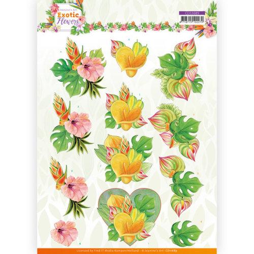 Jeanines Art CD11689 - 10 stuks knipvel - Jeanines Art - Exotic Flowers - Orange Flowers