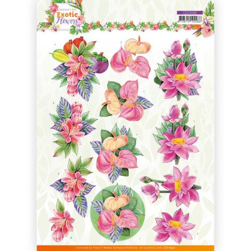 Jeanines Art CD11690 - 10 stuks knipvel - Jeanines Art - Exotic Flowers - Pink Flowers