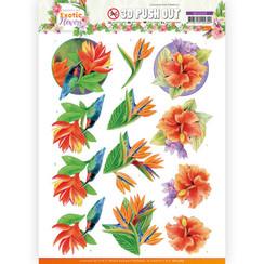 SB10569 - Uitdrukvel - Jeanines Art - Exotic Flowers - Blue Flowers