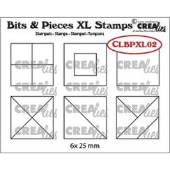 Crealies Clearstamp Bits&Pieces XL no. 02 Vierkanten CLBPXL02 25mm
