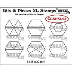 Crealies Clearstamp Bits&Pieces XL no. 03 Zeshoeken CLBPXL03 25x22mm