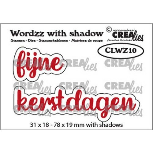 Crealies Crealies Wordzz with Shadow Fijne Kerstdagen (NL) CLWZ10 78x19mm