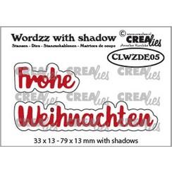 Crealies Wordzz with Shadow Frohe Weihnachten (DE) CLWZDE05 79x13mm