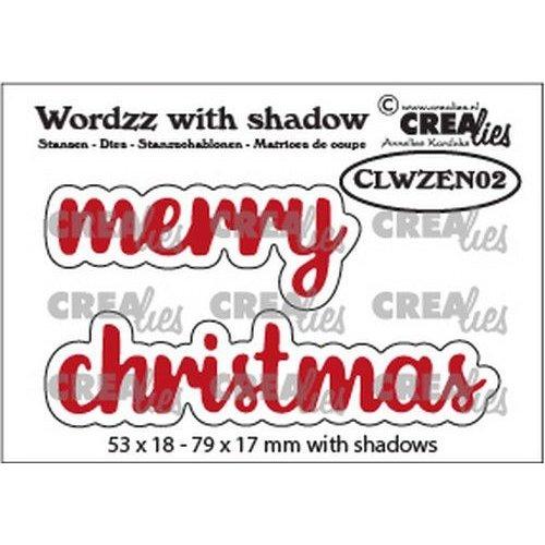 Crealies Crealies Wordzz with Shadow Merry christmas (ENG) CLWZEN02 79x17mm