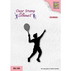 Nellies Choice Clearstempel - Silhouette - Sport Tennissen SIL100 37x65mm