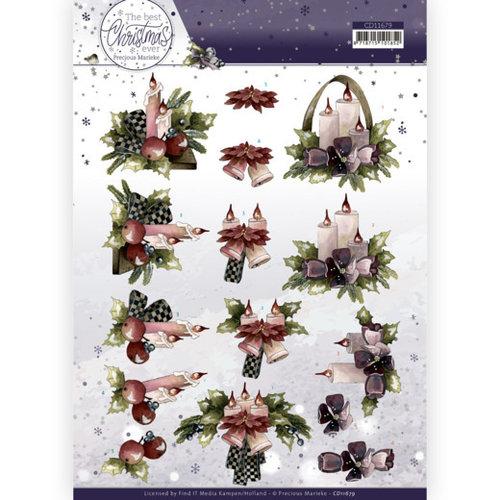 Precious Marieke CD11679 - 10 stuks knipvellen -  Marieke - The Best Christmas Ever - Purple Flowers And Candles