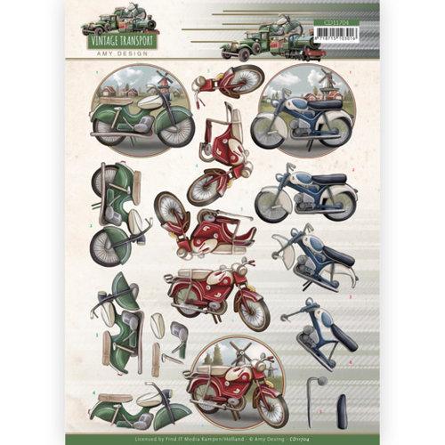 CD11704 - 10 stuks knipvel - Amy Design - Vintage Transport - Moped