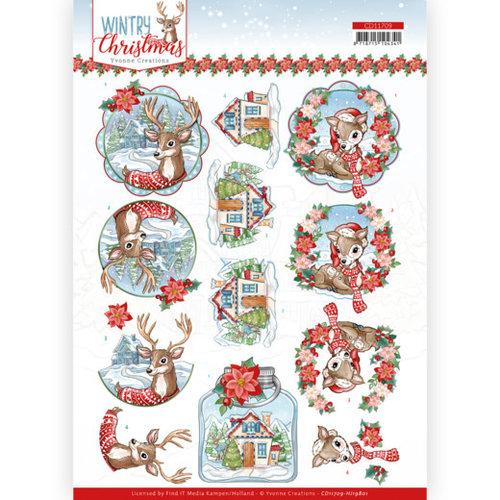 CD11709 - HJ19801 - 10 stuks knipvel - Yvonne Creations - Wintry Christmas - Christmas Deer