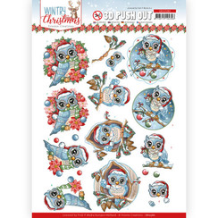 SB10580 - Uitdrukvel - Yvonne Creations - Wintry Christmas - Christmas Owls