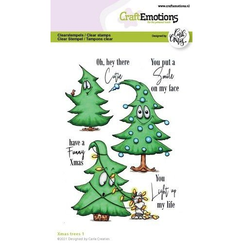 CraftEmotions clearstamps A6 - Xmas trees 1 (Eng) Carla Creaties