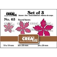 Crealies Set of 3 no. 63 Kerstster ronde bladeren CLSet63 19x19-30x30-39x39mm