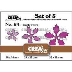 Crealies Set of 3 no. 64 Kerstster puntige bladeren CLSet64 18 x18-29x29-38x38mm