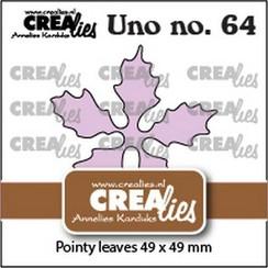 Crealies Uno no. 64 Kerstster puntige bladeren CLUno64 49x49mm