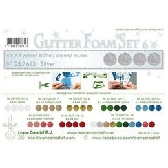 LeCrea - Glitter foam 4 vel A4 - Zilver 25.7613