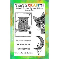 Thats Crafty! Clearstamp A5 - Melina's Kat, Uil en Maan 107111