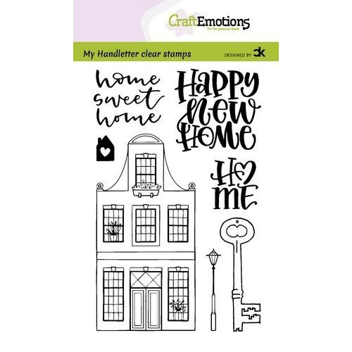 CraftEmotions clearstamps A6 - handletter - Nieuwe Woning 1 (Eng) Carla Kamphuis