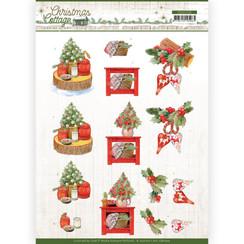 CD11722 - 10 stuks knipvel - Jeanines Art - Christmas Cottage - Christmas Decoration