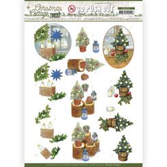 SB10591 - Uitdrukvel - Jeanines Art - Christmas Cottage - Blue Decorations