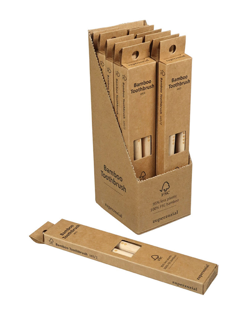 Zuperzozial Toothbrush set/2 in bamboo
