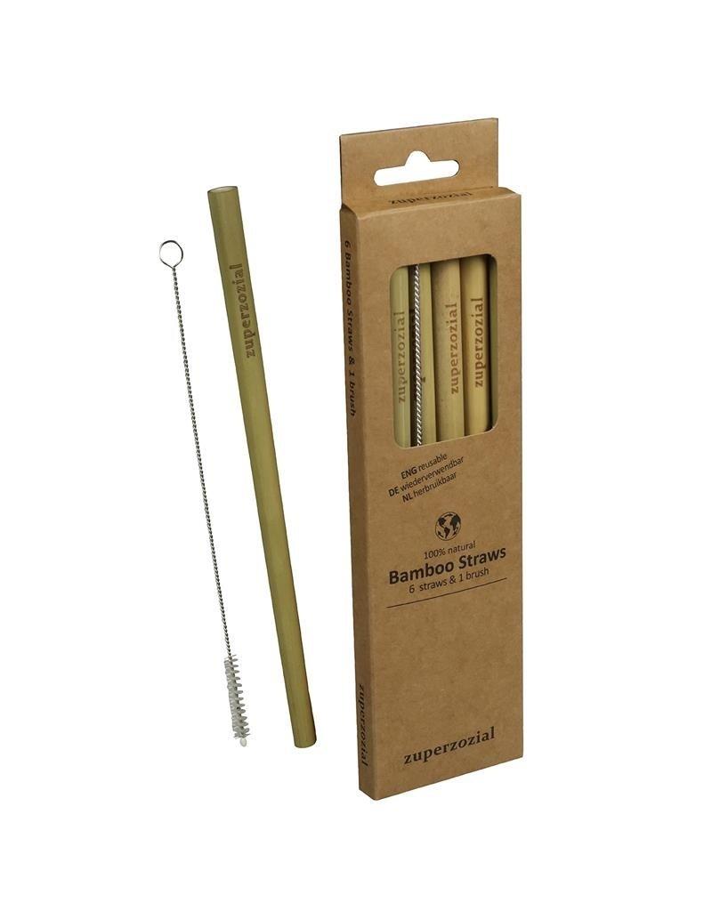 Zuperzozial Bamboo straws + brush