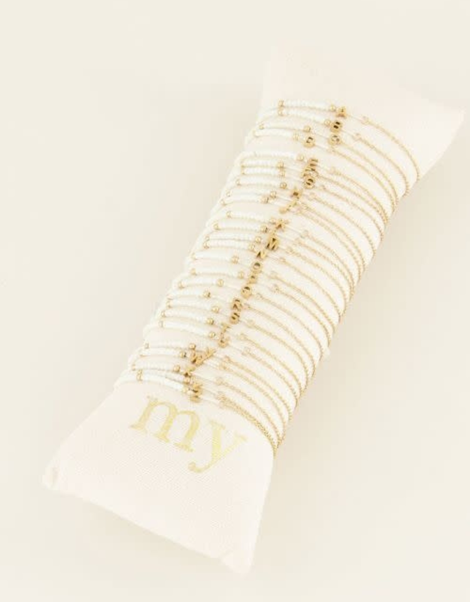 MyJewellery Witte Kralen Armband Met Initial