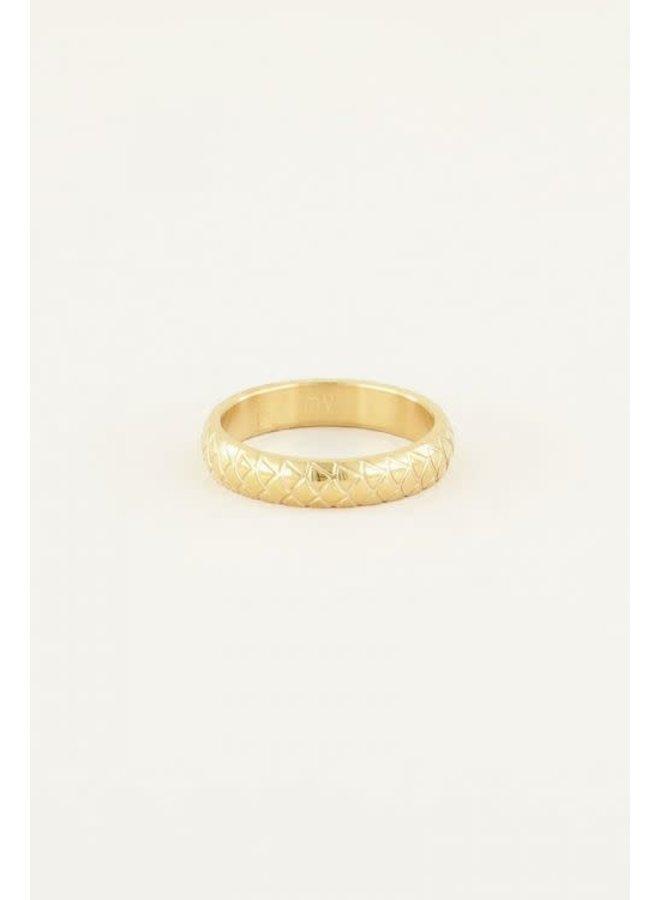 Smalle Ring Schubben Goud