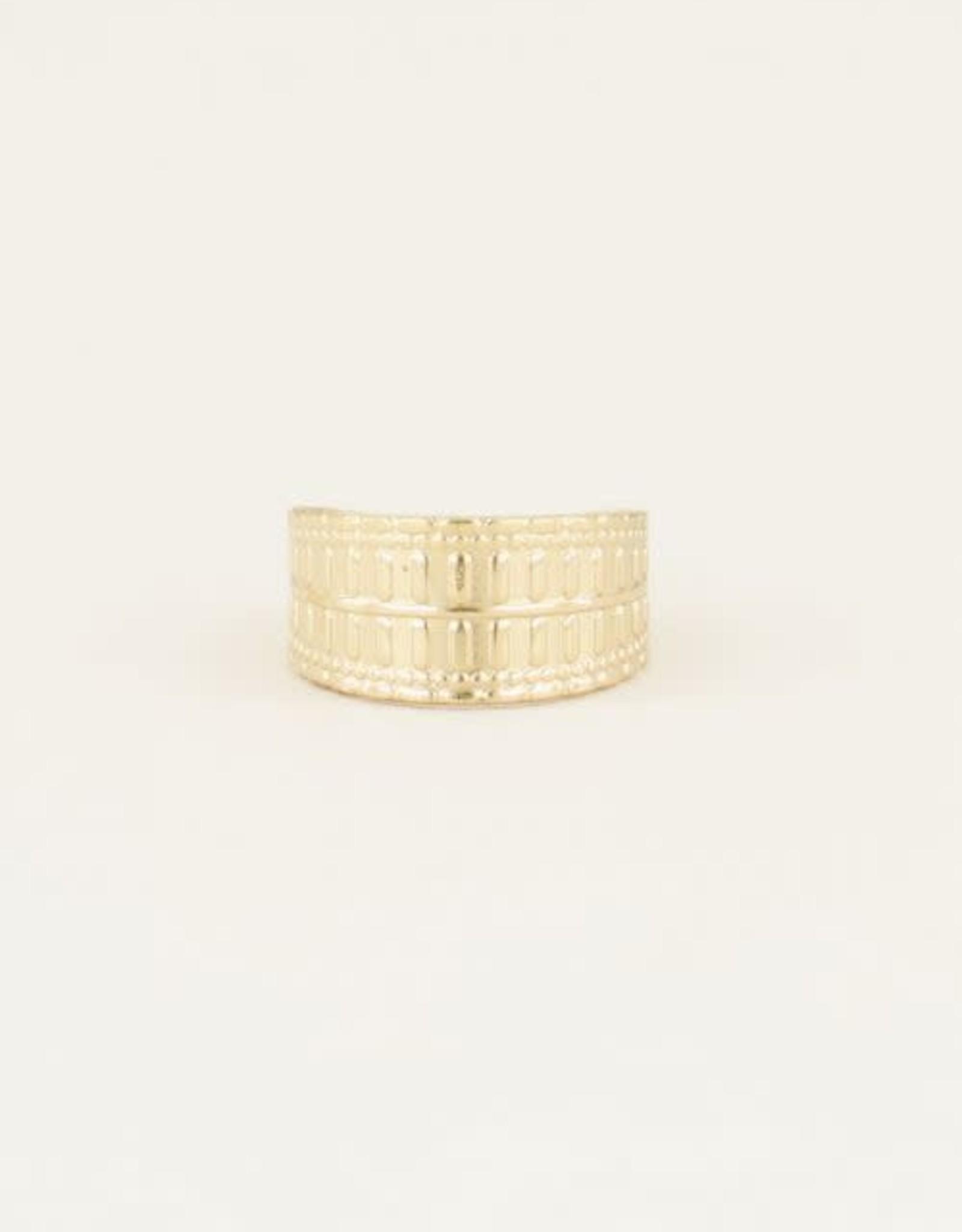 MyJewellery Brede Ring Met Patroon Basic Goud