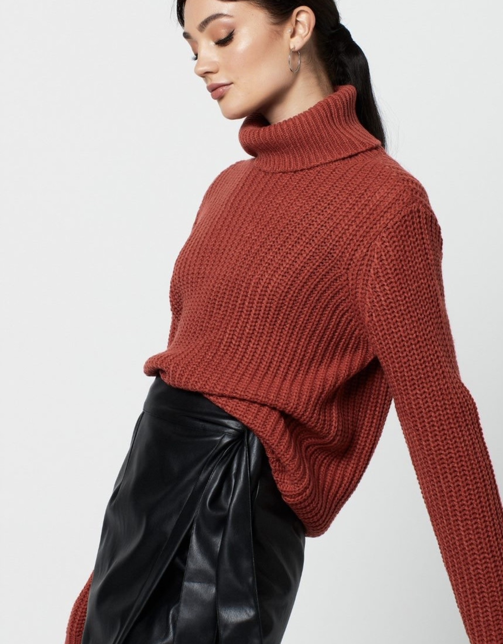 Rut&Circle Tinelle Rollneck Knit Rust