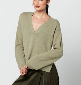 Rut&Circle Emelie V Neck Knit Tea Green