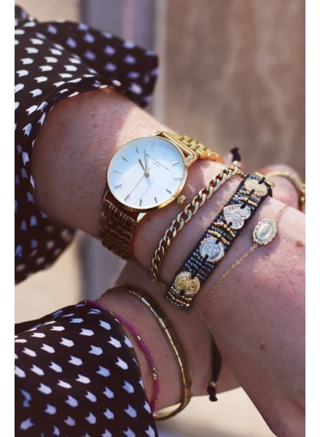 Rond Horloge Schakelband Goud