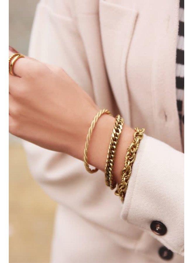 Armband met Brede Schakels Goud