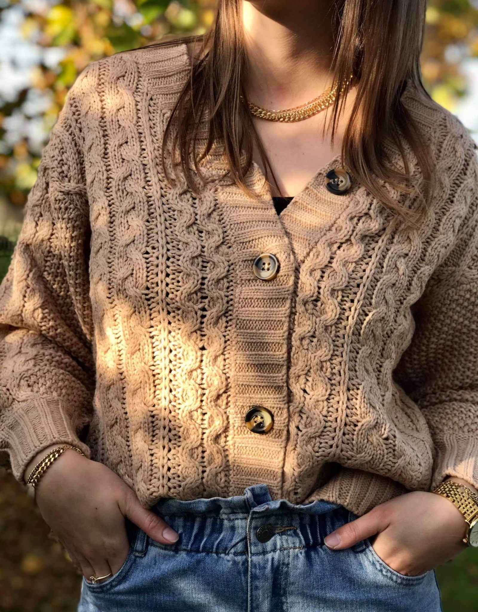 Rut&Circle Carrie Cable Cardigan