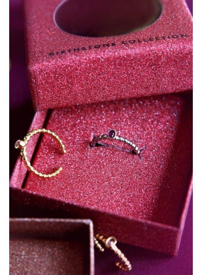 Geboortesteen Ring Juli Zilver