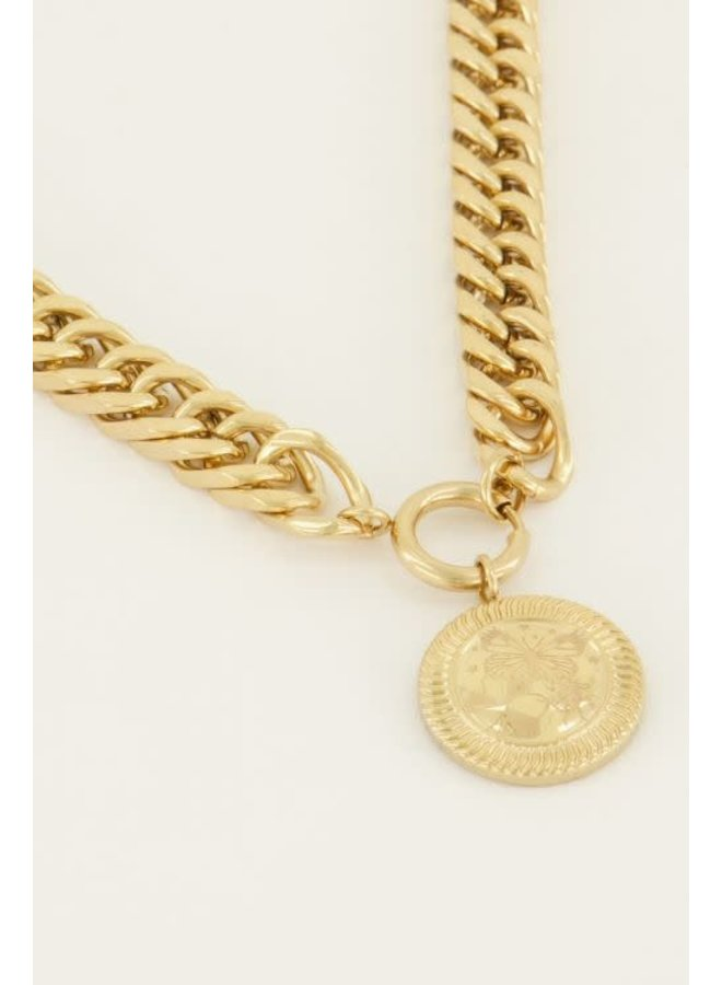 Ketting Schakels Lucky Coin Goud