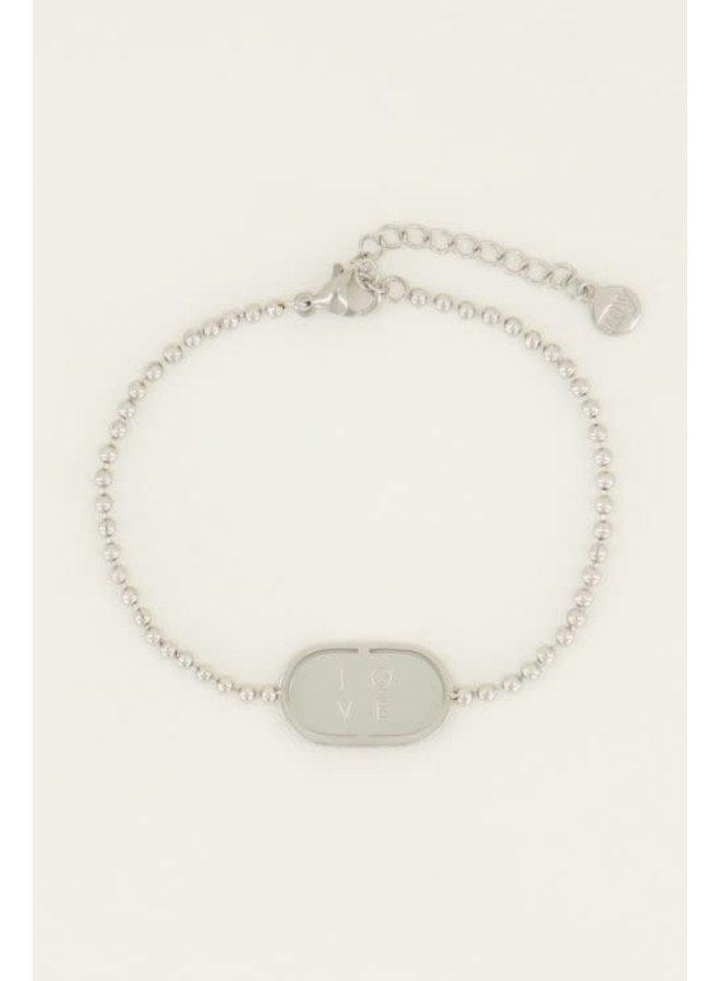 Armband Love Plaatje Zilver