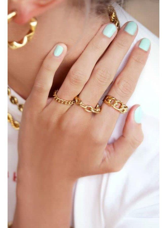 Ring Ovale Schakels Goud