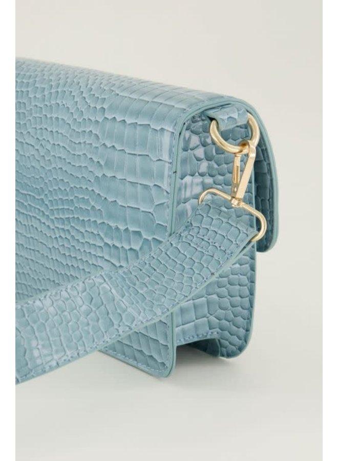 Lichtblauwe Schoudertas Slangenprint