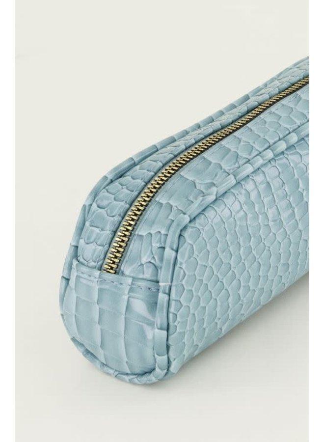 Blauwe Etui Crocoprint