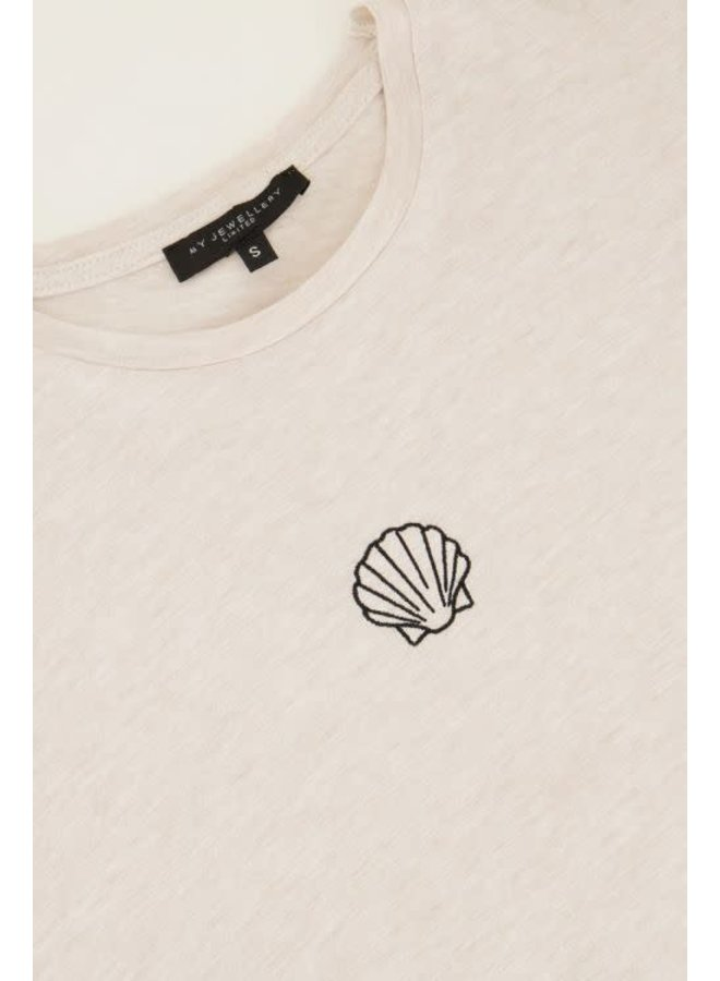 T-shirt met Schelpje  Beige