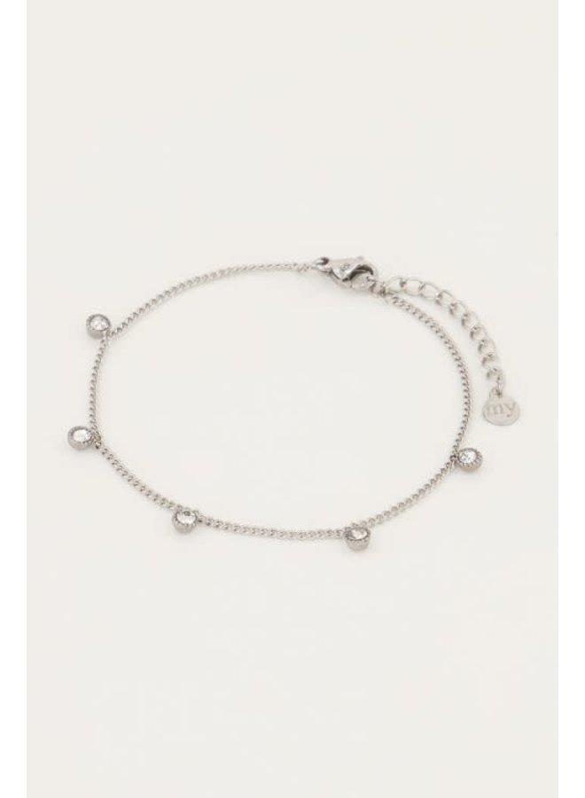 Armband Strass Rondjes Zilver