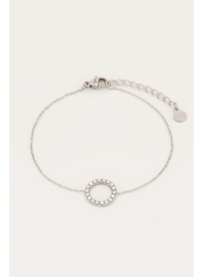Armband Strass Cirkel Zilver