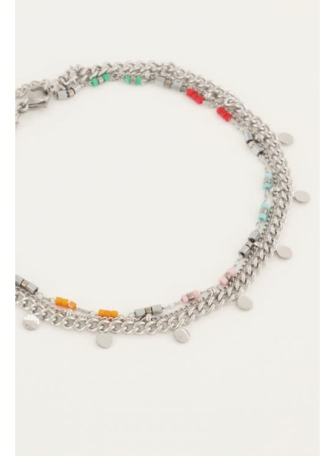 Enkelbandje Driedubbel Gekleurd Zilver