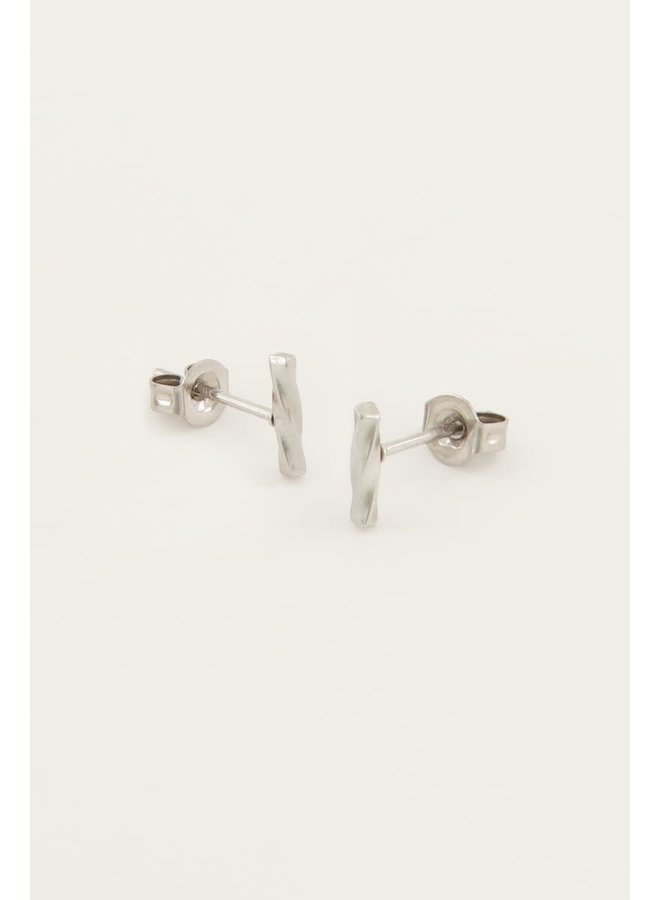 Studs Staafje Gedraaid Zilver